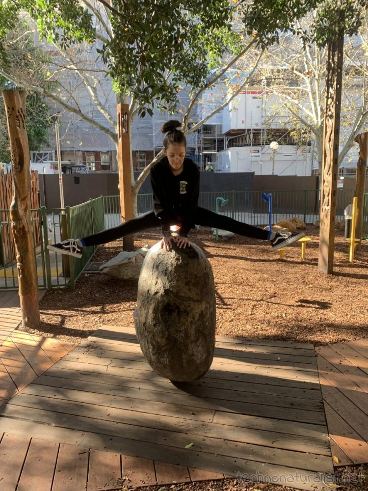 12yo doing straddle hold in the sensory playground, Perth, Western Australia