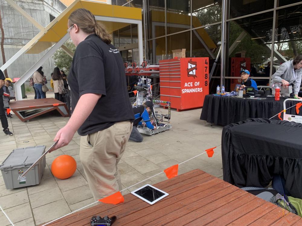 Mechatronic Engineering robots outside Engineering Pavilion, Curtin University, Western Australia