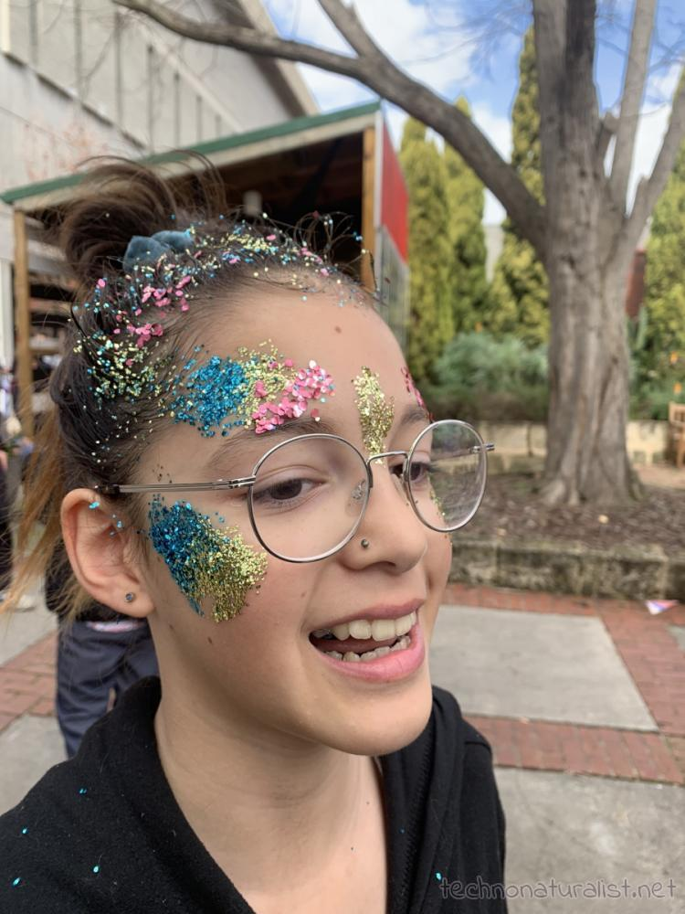 12yo with glitter face paint