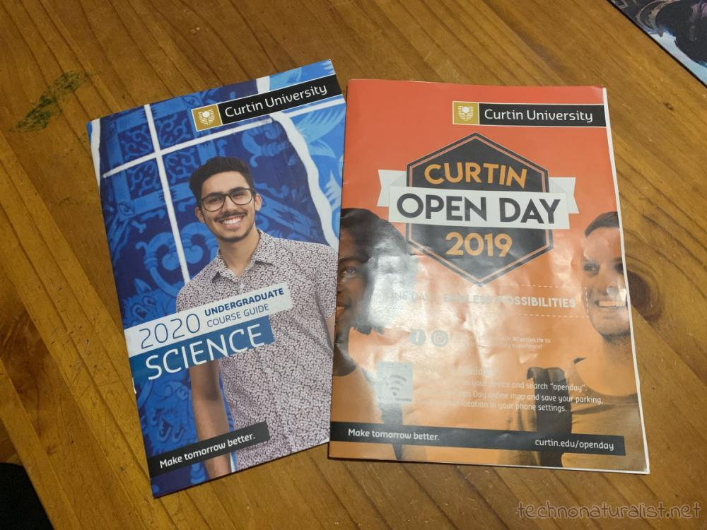 information booklets from Curtin Open Day
