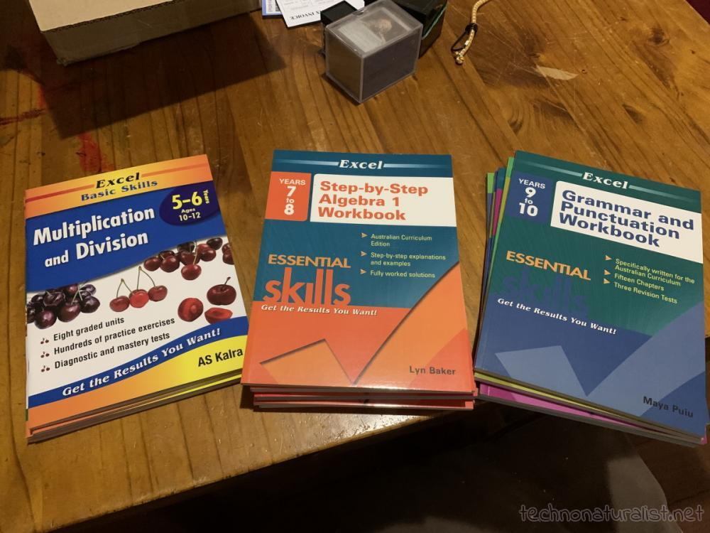 kids' shiny new workbooks