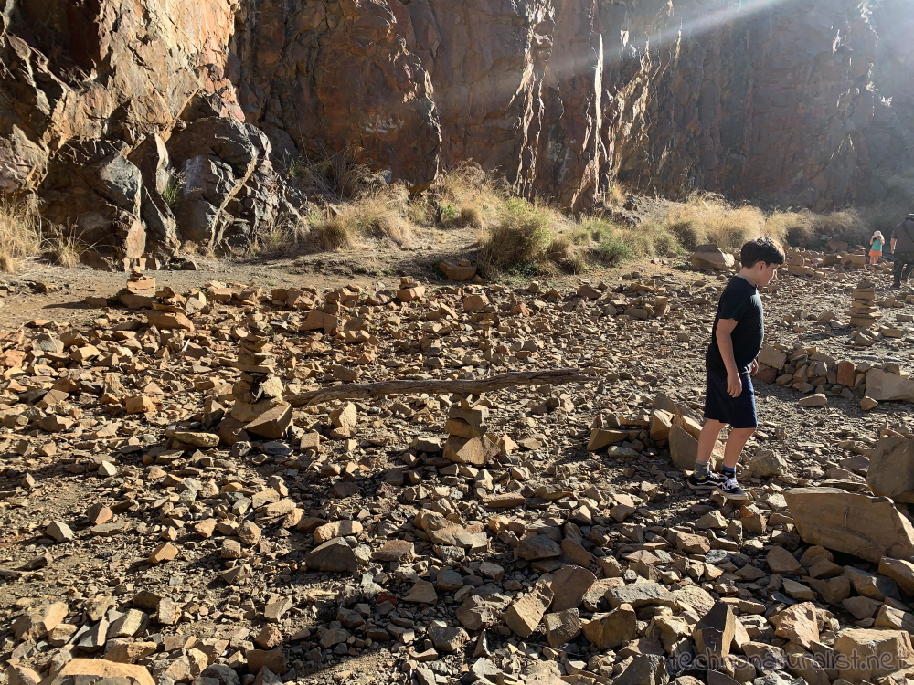 rock balance sculptures in the quarry at Ellis Brook, Western Australia