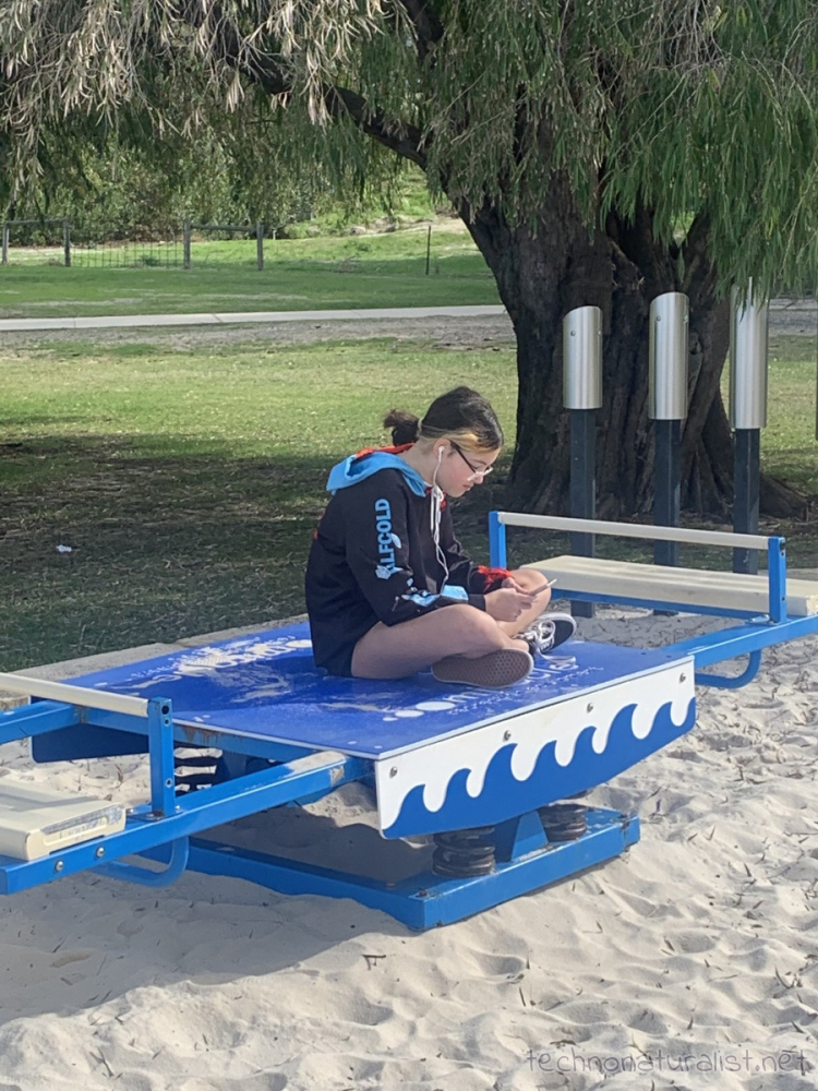 13yo editing videos on her phone on a see saw at AP HInds Reserve, Bayswater, Western Australia