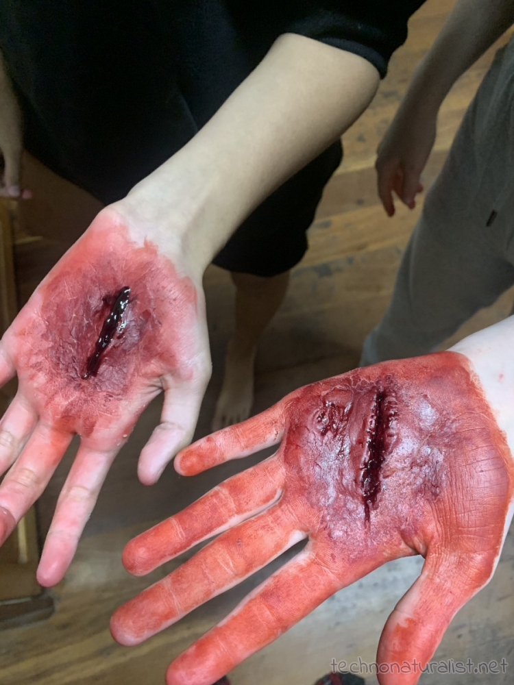 fake gashes made with Vaseline, flour and red food colouring