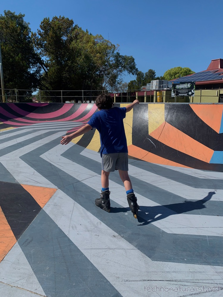 11yo learning to inline skate at Thornlie Skate Park, Thornlie, Western Australia