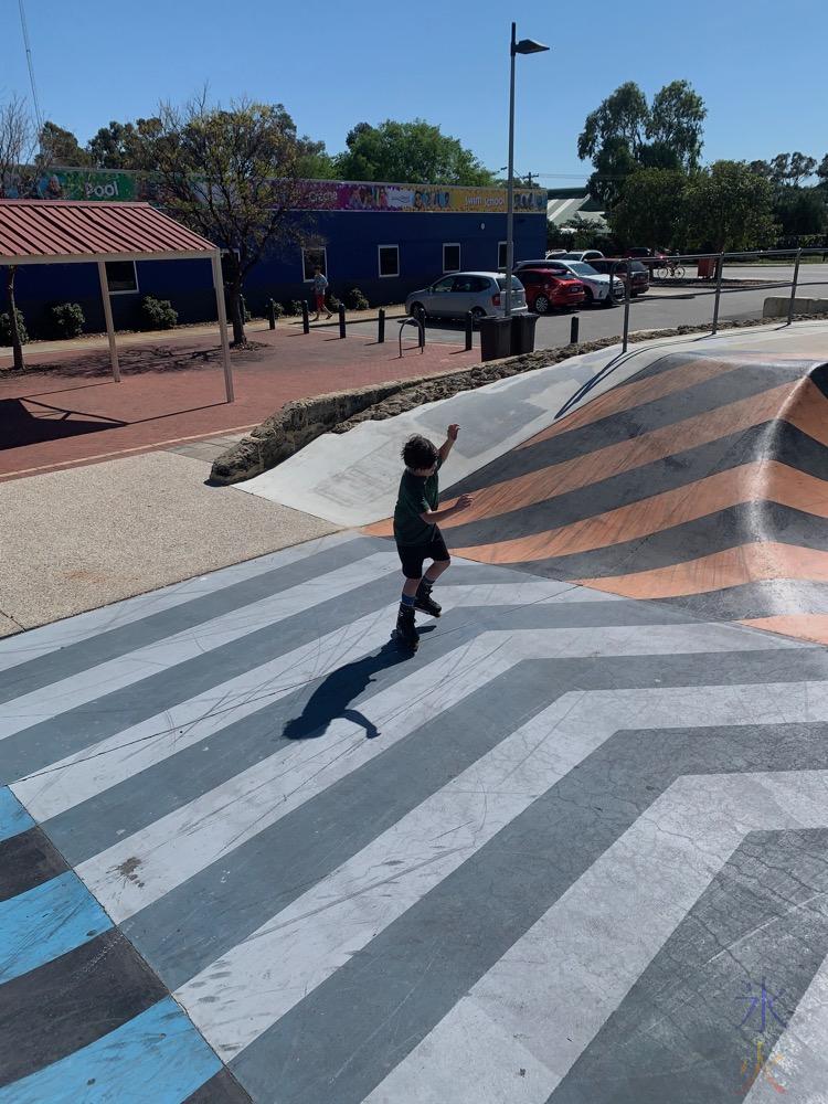 11yo learning to inline skate at Thornlie Skate Park, Thornlie, Western Australia