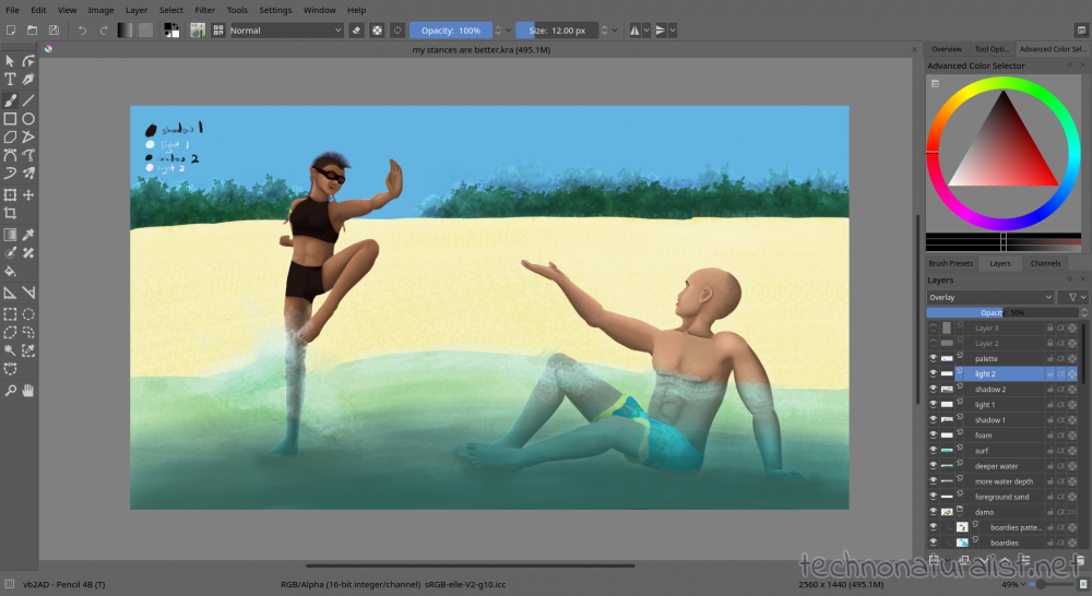 working on painting in Krita