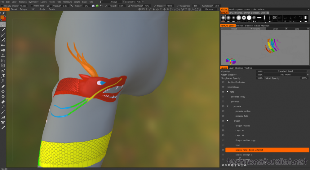 shiny scales in 3d Coat using more accurate lighting