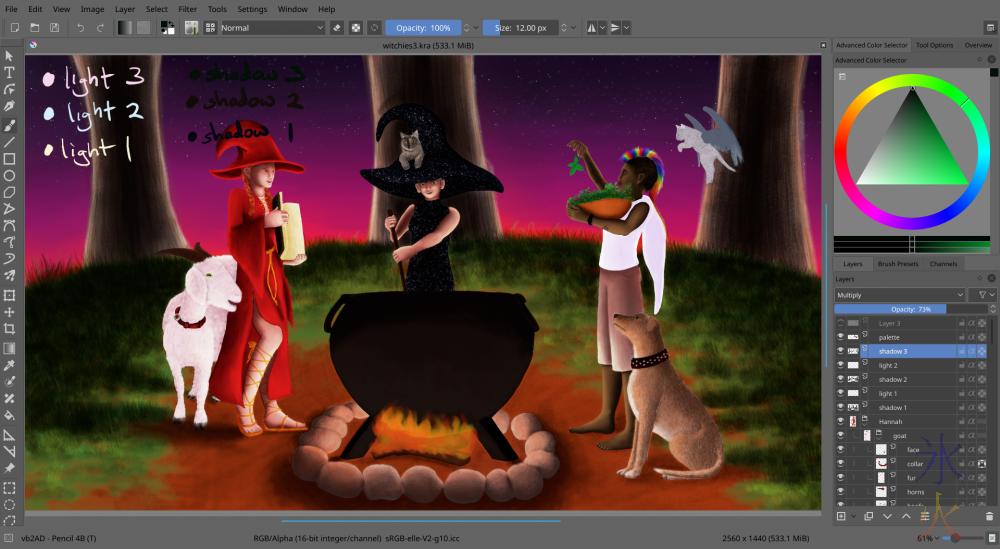 Witchies Krita painting