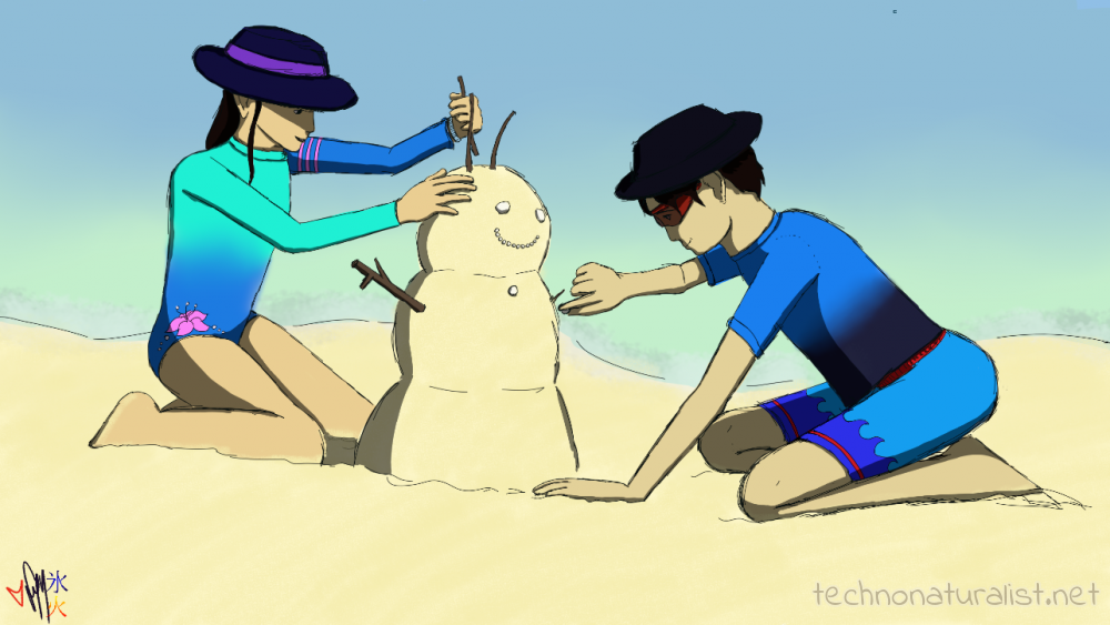 Taji and Rei building a sandman cel shadow version