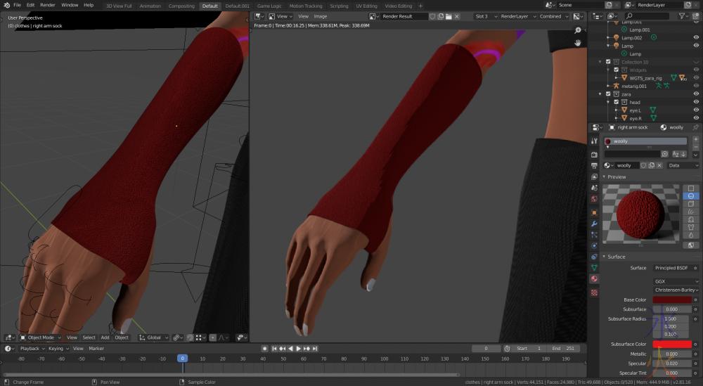 arm socks preview vs render Blender 2.81