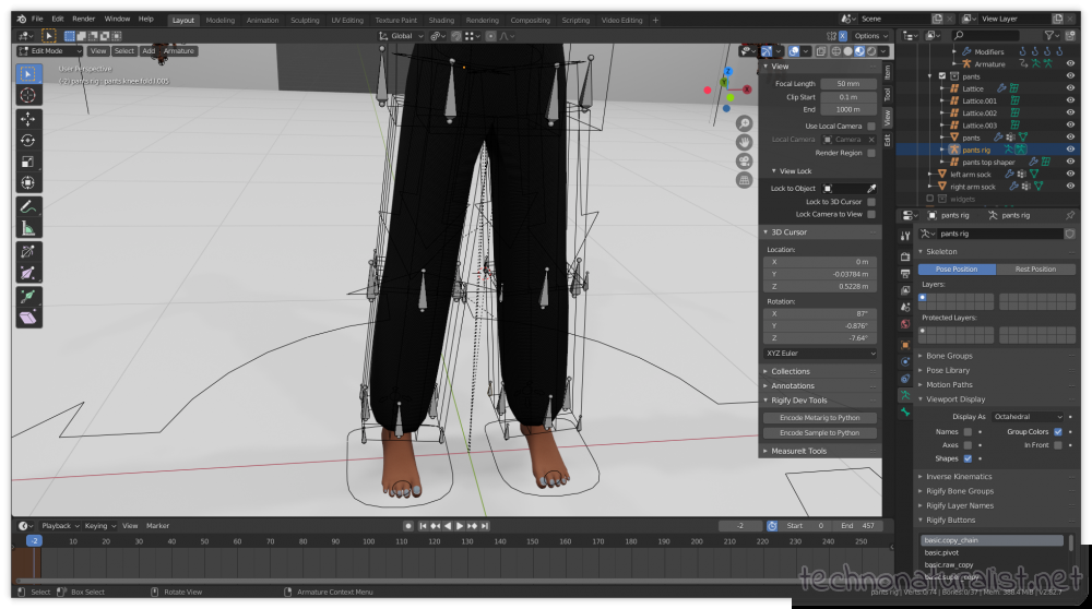 attempting to rig pants in Blender