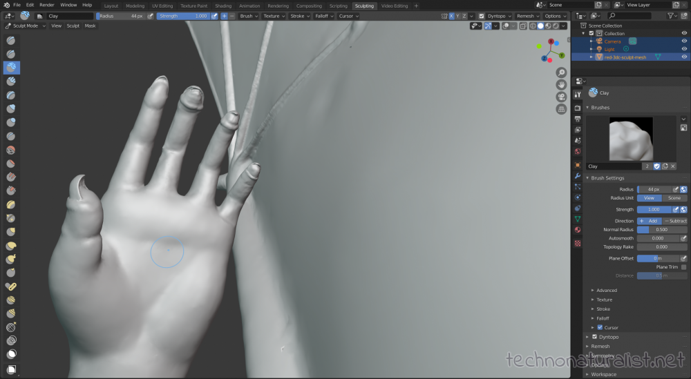 Blender 2.8 fixing up hand sculpt