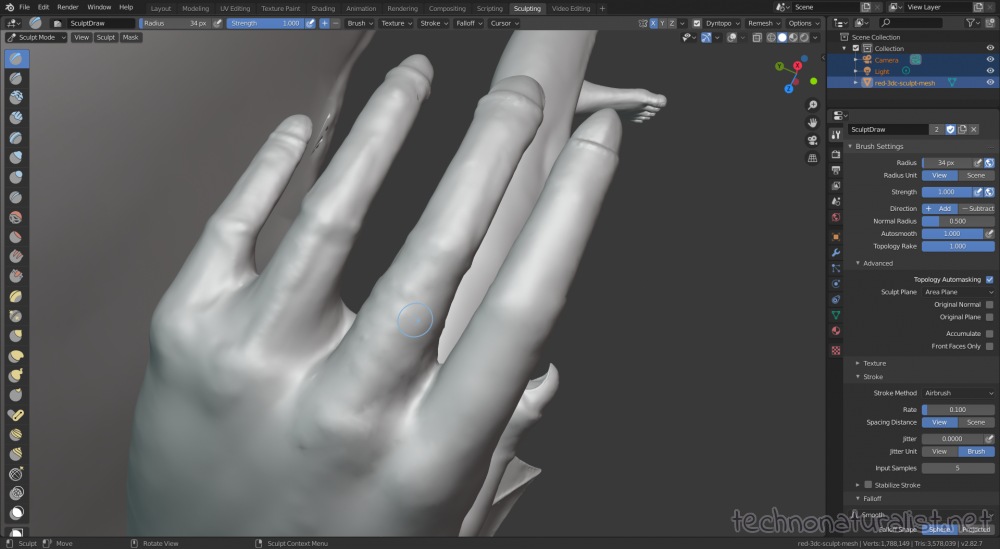 Blender 2.8 sculpting hand