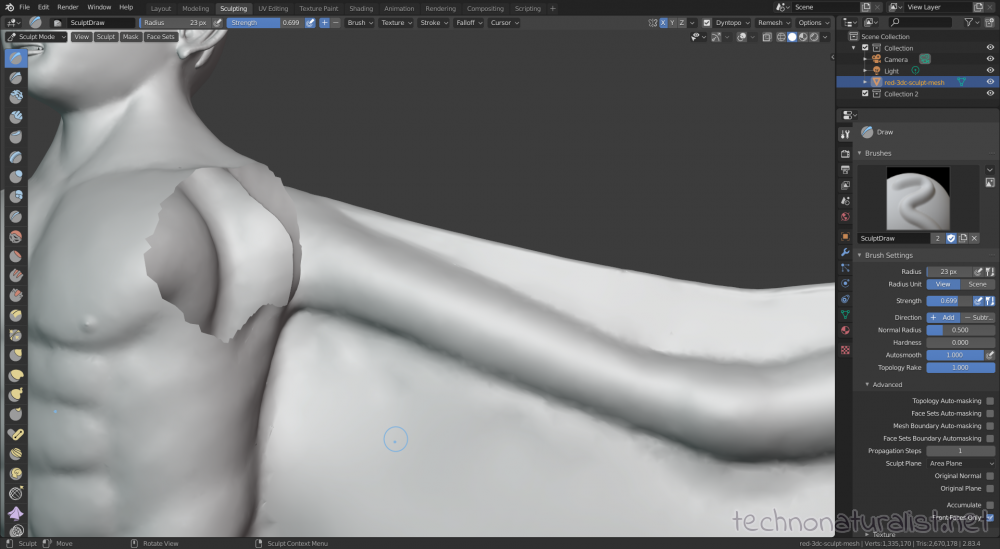 Blender 2.8 sculpt mode working on wings