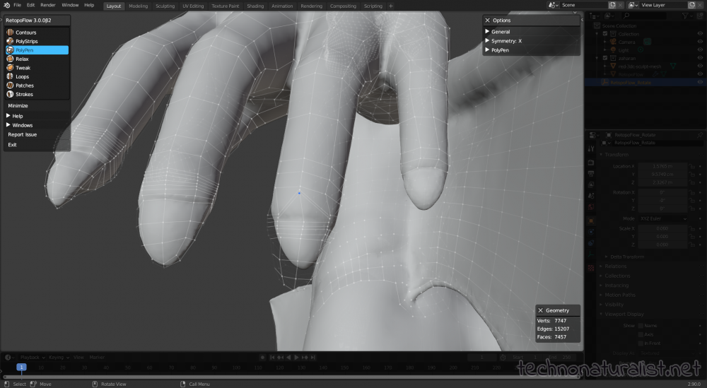 fingertips retopo using Retopoflow in Blender 2.9