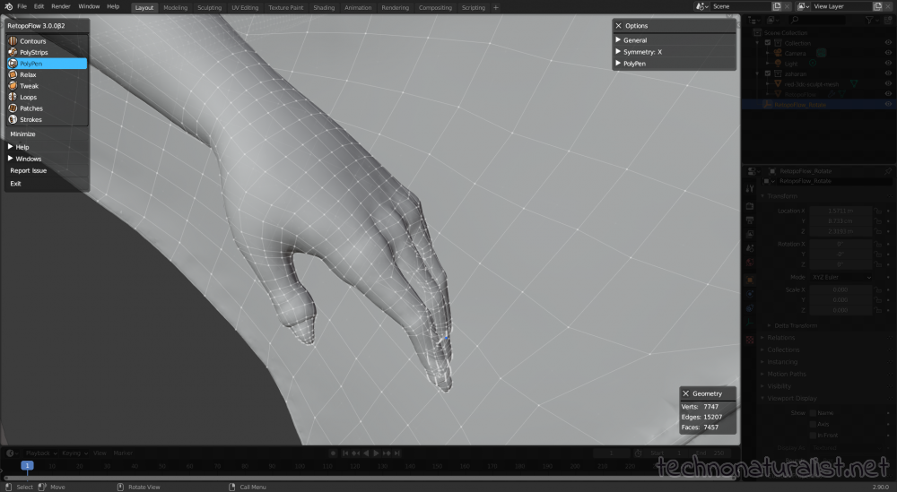 hand retopo with Retopoflow in Blender 2.9