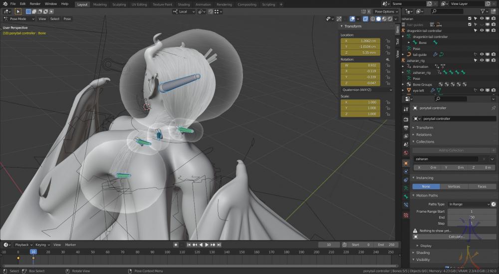 Blender 2.92 using bone envelopes to rig hair curve guides