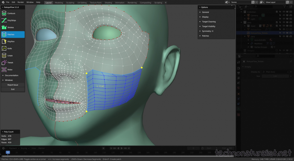 patches tool in Retopoflow 3.1.0 in Blender 2.92