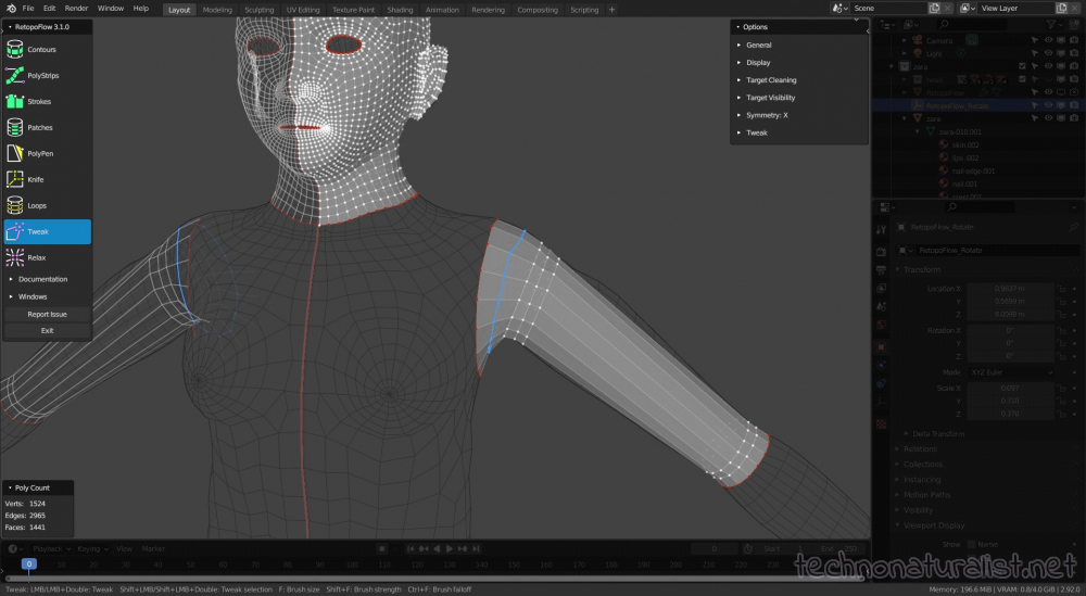 retopologising human in Retopoflow in Blender 2.92