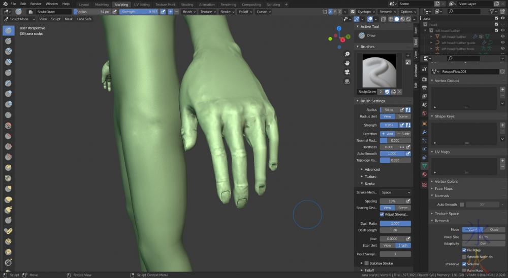 still can't sculpt hands no matter what - Blender 2.92