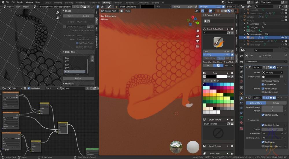 dragon leg scales in bpainter in Blender 2.93.1