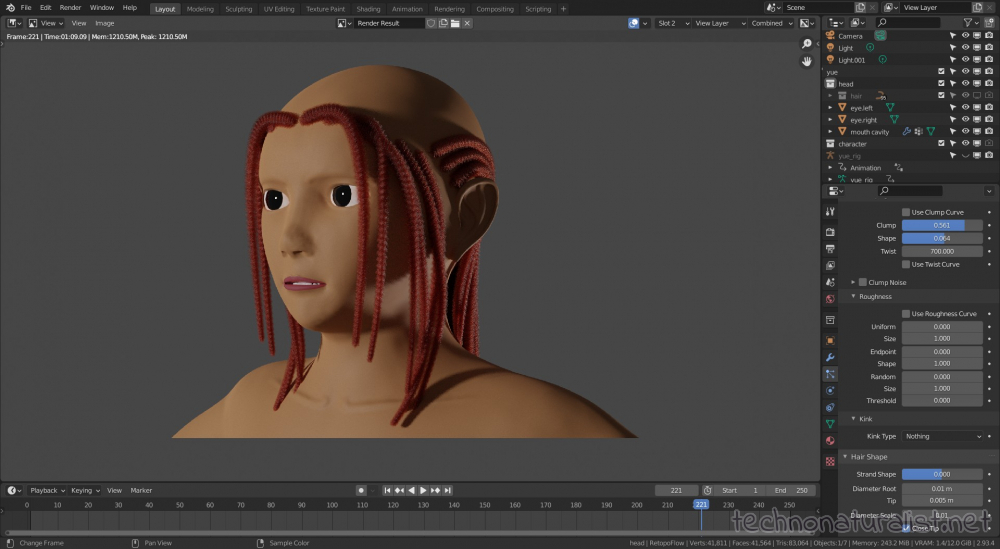 dreadlock attempt with mostly twist and clump in Blender 2.93.4