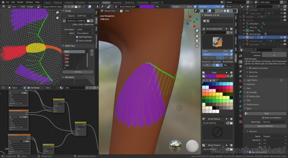 painting a tattoo in Bpainter in Blender 2.93.4