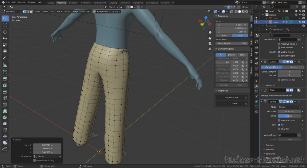 remembering I already have a pants model and using that instead, now just readjusting