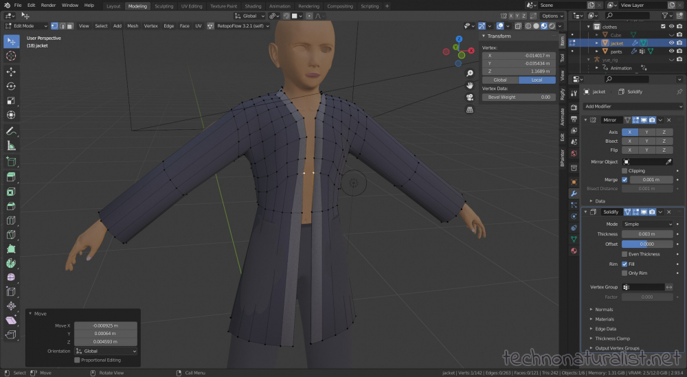 box modelling Yue's shirt in Blender 2.93.4