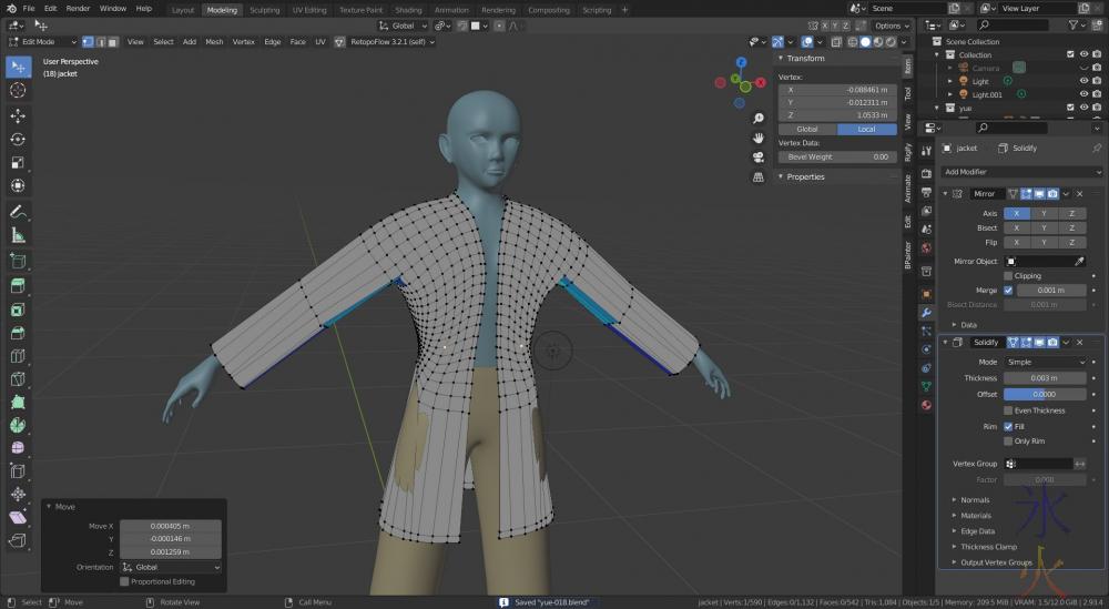 making a jacket in Blender 2.93.4