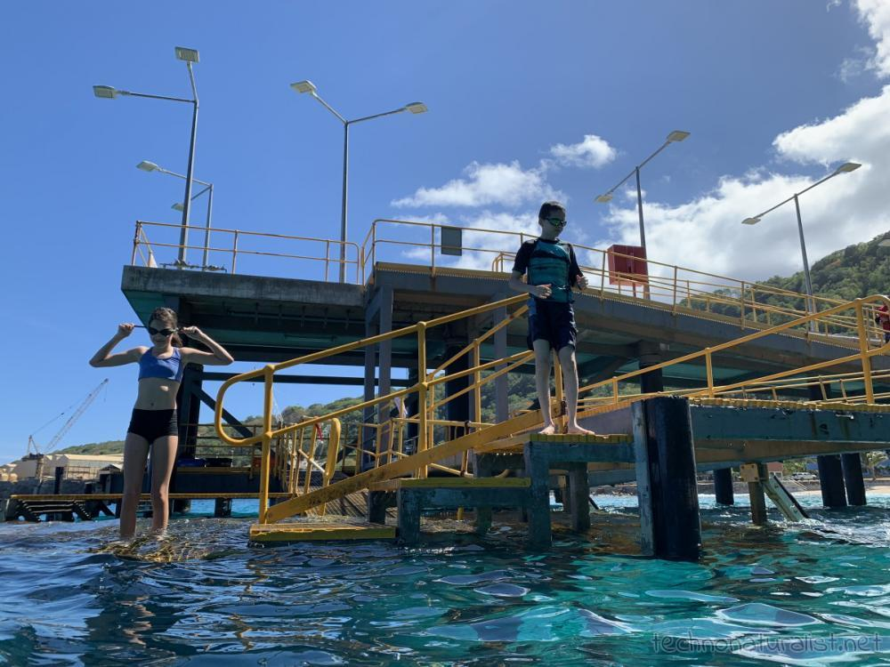 Swimming off Christmas Island jetty extension