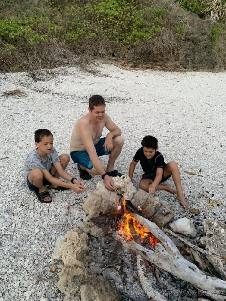 toasting marshmallows, Lily Beach, Christmas Island