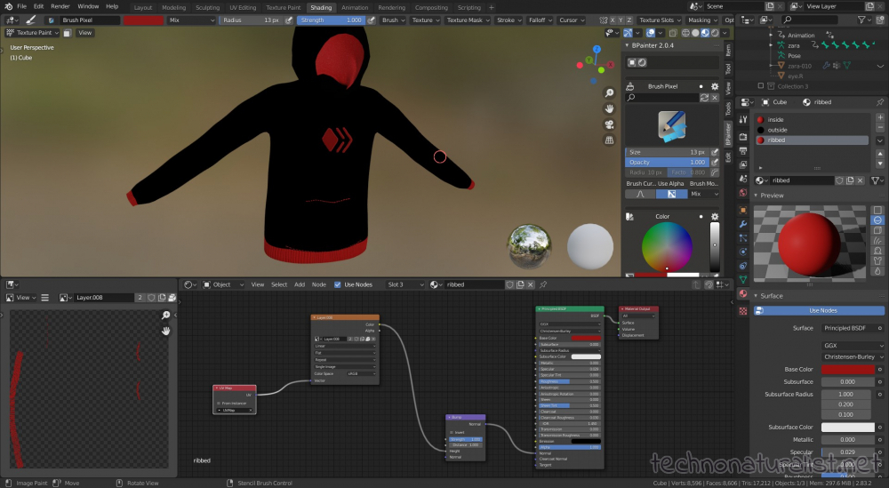 Blender 2.8 painting hive logo and hoodie ribbing in bpainter