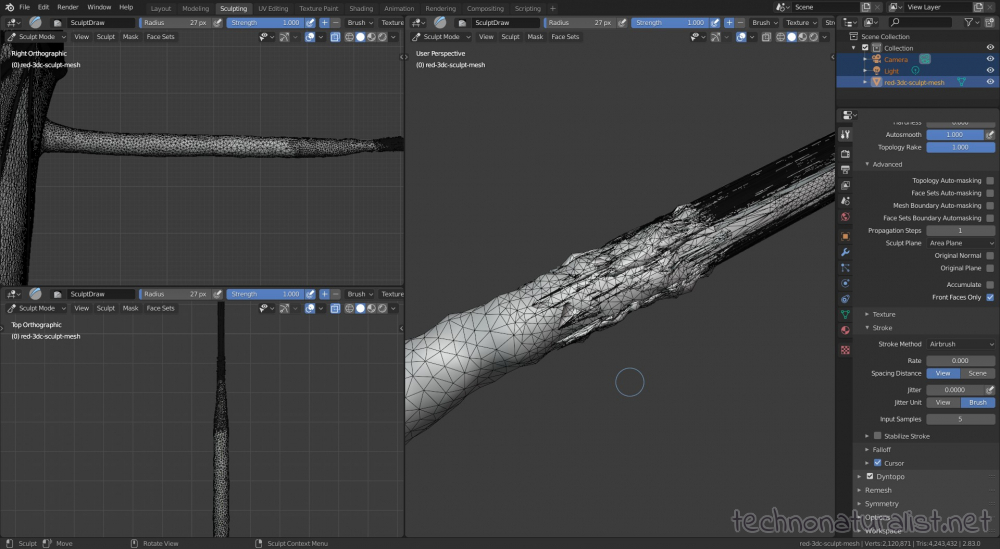 Blender 2.8 fixing up a mesh in sculpt mode