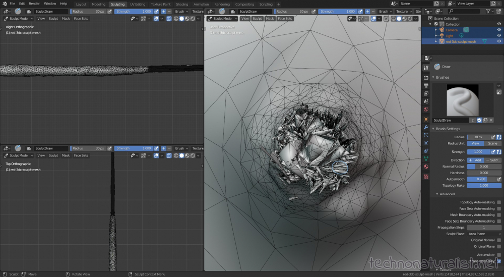 Blender 2.8 cleaning up mesh in sculpt mode, internal mess